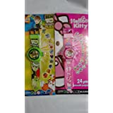 Combo Of Ben10 And Hello Kitty Projector Watch For Kids