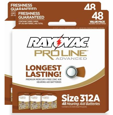 Rayovac Proline Advance Hearing Aid Batteries, Size 312A (96 count)
