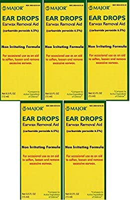 Ear Drops Earwax Removal Aid Carbamide Peroxide 6.5% Generic for Debrox - 0.5 oz. (15 ml) Per Bottle Pack of 5 Total 2.5 oz. by Major Pharmaceuticals