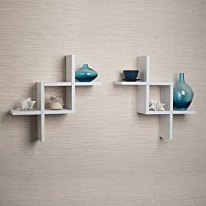 Set of 2 Reversed Criss Cross White Shelves