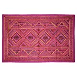 Home Decorative Indian Ethnically Designed Khambadia Mirror Work Cotton Wall Hanging Tapestry