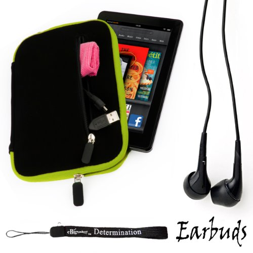 """Black with Green Trim Smart Aero Protection Design Slim Soft Suede Cover Carrying Sleeve Case with Extra Accessory Back Pocket for Pandigital Nova - 7"""" Media Tablet + Includes 4-inch ebigvalue Determination Hand Strap + Includes a Crystal Clear High Quali"""
