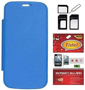 Tidel SkyBlue Flip Cover For Xiaomi Redmi 2 / Xiaomi Redmi 2 Prime With Tidel Screen Guard & Micro /Nano SIM Adapter