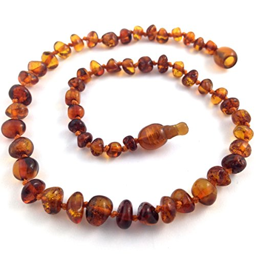 "Hazelaid (TM) 12"" Pop-Clasp Baltic Amber Dark Cognac Necklace - 1"
