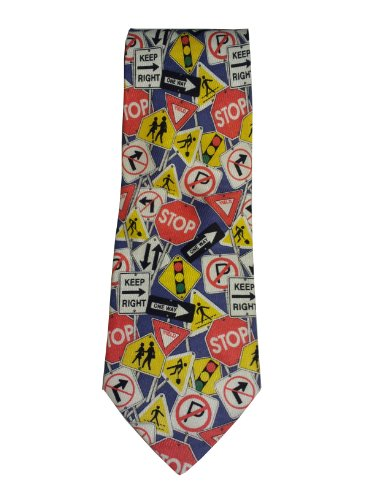 Men's Street Road signs Novelty Silk Necktie Tie