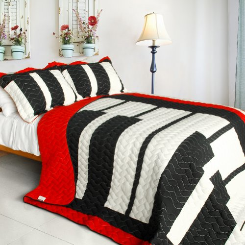 [Dynamic Piano] 3Pc Vermicelli-Quilted Patchwork Quilt Set (Full/Queen Size) front-939052