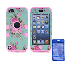 buy Ipod Touch 5 Case, Sophia Shop 3 In 1 Hard Peony Pattern Design With Muiti-Color Option Silicone Soft Hybrid Cover Case For Apple Ipod Touch 5 (Pink)