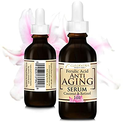 Anti Aging Facial Serum - Retinol + Ferulic Acid + Virgin Coconut Oil Hydrates and Replenishes Skin - From Cleopatra Beauty Care