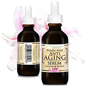 Cleopatra Beauty Care Anti Aging Facial Serum Retinol + Ferulic Acid + Virgin Coconut Oil Hydrates and Replenishes Skin From Cleopatra Beauty Care