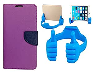 Novo Style Wallet Case Cover For Micromax Yu Yureka Purple + Ok Stand For Smartphones And Tablets