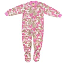 Pink Camouflage Fleece Footed Pajamas for Girls S