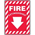 "Accuform Signs MFXG417VP Plastic Safety Sign, Legend ""FIRE EXTINGUISHER (ARROW DOWN)"", 10"" Length x 7"" Width x 0.055"" Thickness, White on Red"
