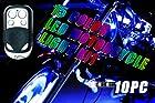 10PC 15 COLOR RGB LED MOTORCYCLE LIGHT KIT REMOTE CONTROL 6 LEDS PER STRIP MILLION COLORS
