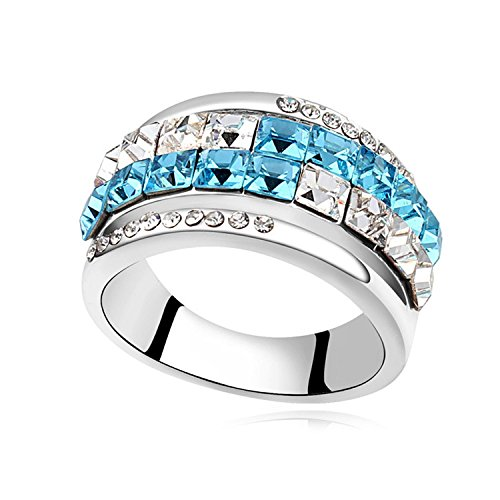 CHIC Promise Rings Platinum Plated Austrian Crystal Ring Jewelry 7.5