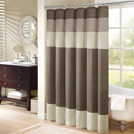 Pieced Faux Dupioni Shower Curtain Color: Natural front-1023241