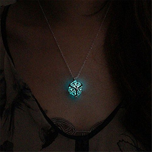 Hollow Tree of Life Necklace Pendant Luminous Glow in the Dark Locket Jewelry Sky Blue