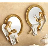Collections Etc Mirrored Heavenly Wall Angels - Set Of 2