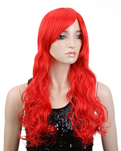 Cool2day Anime Costume Long Curly Red Hair Cosplay Party Wig (Model: Jf010128)