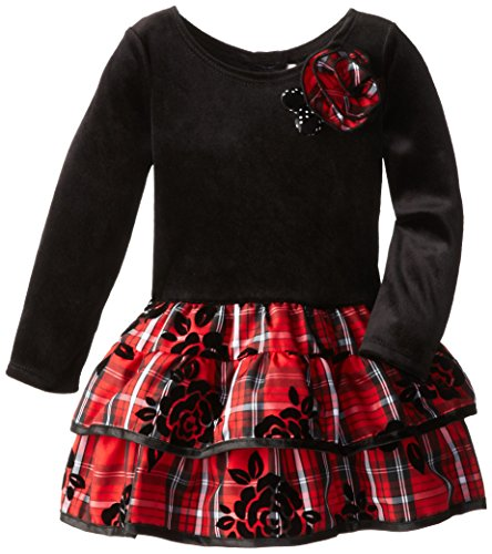 Youngland Little Girls' Drop Waist Plaid Dress, Black/Multi, 3T