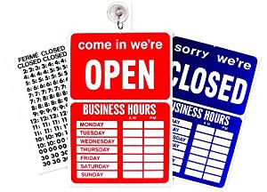 Open closed sign business hours notice business and store signs
