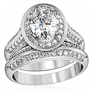 Yourjewellerybox 1W163Pb 2.1Ct Oval 2Pcs Simulated Diamond Wedding Band Ring Set Platinum Plated Size L