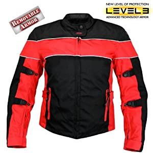 Xelement Womens Black and Red Tri-Tex Fabric Motorcycle Jacket with Level-3 Advanced Armored by Xelement