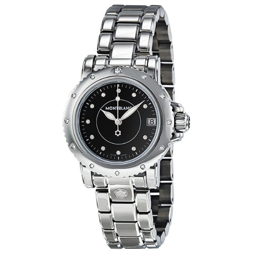 Montblanc Sport Diamond Black Dial Stainless Steel Ladies Watch 102363
