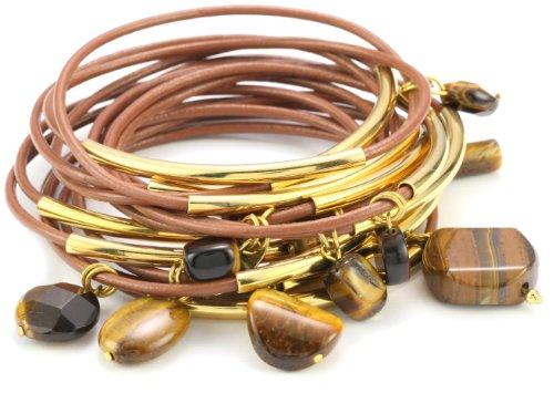 Accessories & Beyond Set of 15 Khaki Leather Bangles