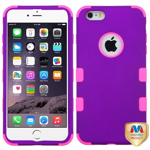 Cell Accessories For Less (Tm) Apple Iphone 6 Plus Hard Grape/Electric Pink Tuff Hybrid Case Cover + Bundle (Stylus & Micro Cleaning Cloth) - By Thetargetbuys