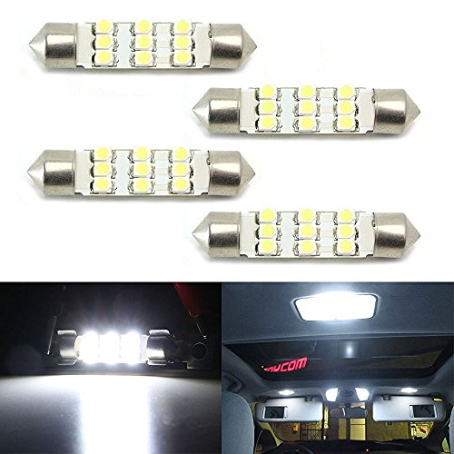 iJDMTOY (4) Xenon White 9-SMD-1210 1.72 42mm LED Bulbs 578 576 211-2 212-2 214-2 For Car Interior Dome Lights, Cargo Area Trunk Room Lights, etc (Interior Car Lights Led 07 Denali compare prices)