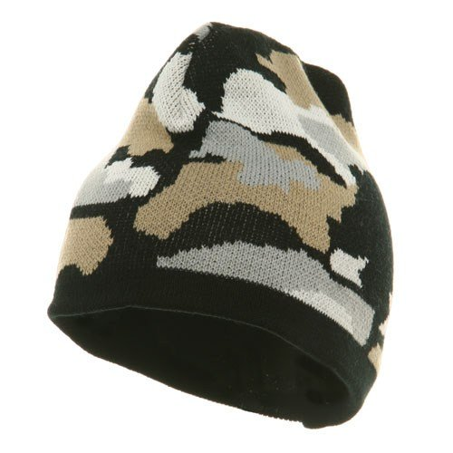 Camo Design Beanie-Black Grey White W31S13D