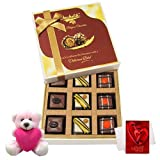 Valentine Chocholik Premium Gifts - Sweet Combination Off Pralines Chocolates With Teddy And Love Card