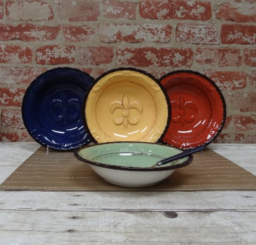 Tuscany Hand Painted Fleur De Lis Soup Bowl, Set Of 4Pcs, 82030 By Ack back-371712
