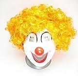 ピエロ仮面 + アフロ ウィッグ 道化師 衣装 仮装 ハロウィン アップドラフト (面 + オレンジアフロ)