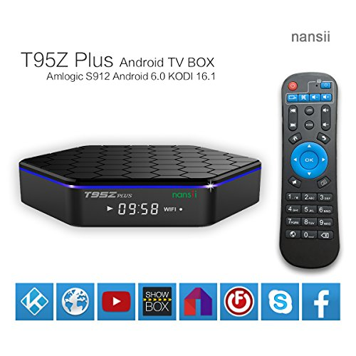 2017 Latest nansii T95Z Plus S912 Android 6.0 1080p-smart tv box support 3D and 4K kodi 16.1 RAM 2GB ROM 16GB 2.4G+5G wifi Bluetooth 4.0 streaming media player (Android Boxes compare prices)