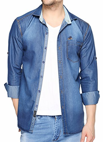 Lafantar Men's Slim Fit Denim Shirt