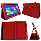 DURAGADGET Executive Red Faux Leather Folio Case With Built In Stand Custom Designed For The Microsoft Surface Pro 2 10.6 Inch Tablet Hybrid PC (64GB,128GB,256GB,512GB)