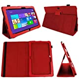 DURAGADGET Executive Red Faux Leather Folio Case With Built In Stand Custom Designed For The Microsoft Surface Pro 10.6 Inch Tablet Hybrid PC (64GB,128GB)