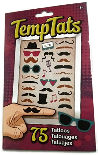 Moustache/Disguise Temporary Tattoos, 75 ct