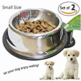 Whippy No-Tip No-Slip Stainless Steel Bowl For Samll/Medium/Large Pets (set of 2)