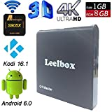 (2017 NEW Release) Leelbox Q1 Master Android TV Box Android 6.0 S905X Quad-core Cortex-A53 1GB RAM/8GB ROM Kodi 16.1 WIFI 2.4 GHz Streaming Media Player