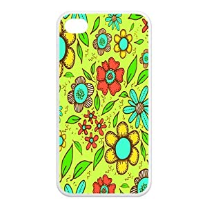 Colorful Light Green Background Flowers Floral Soft Rubber Protector Bumper Case Cover for iPhone 4/4s(TPU),Amazing Vintage Collections
