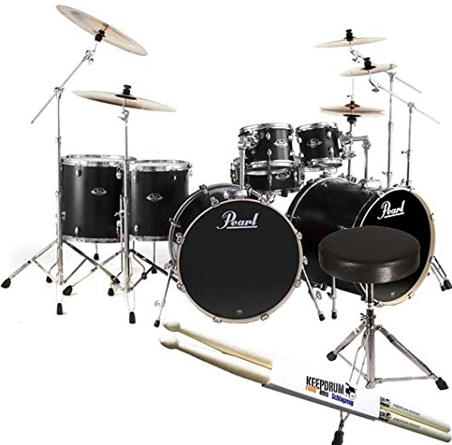 pearl-export-exl727-c256-double-bass-drumset-black-drumhocker-keepdrum-de-baguettes-de-batterie
