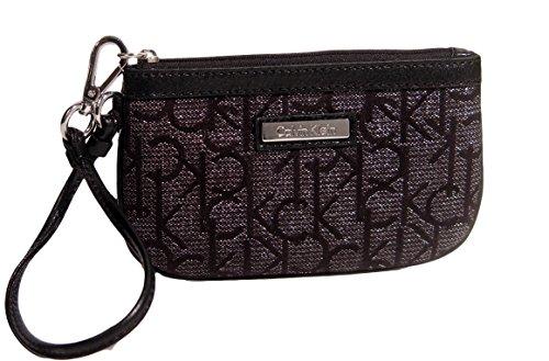 Calvin Klein Black Metalic Wristlet Wallet Bag