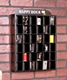 """Happy Hour"" Shot Glass Display Case Wall Shelf Cabinet, No Door, MH37"