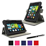 """rooCASE Amazon Kindle Fire 7 Case - (2013 Previos Generation) Dual View Multi Angle Tablet 7-Inch 7"""" Stand Cover - BLACK (With Auto Wake / Sleep Cover)"""