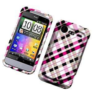 Eagle Cell PIHTC6350G2D153 Stylish Hard Snap-On Protective Case for HTC Droid Incredible 2 - Retail Packaging - Pink Brown Black Check