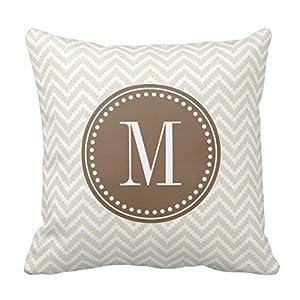 Amazon.com - Decors Linen Beige Chic Aztec Chevron Monogrammed Throw Pillow Case Cushion Cover ...