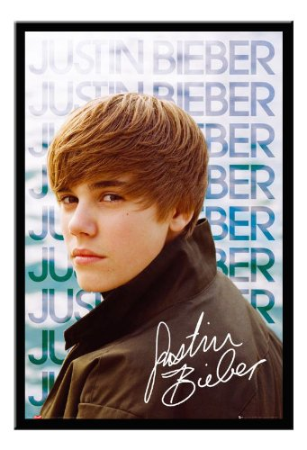 justin bieber black and white poster. Black Framed Justin Bieber