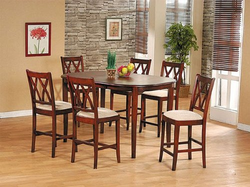 7 pc oval walnut finish wood counter height dining table set